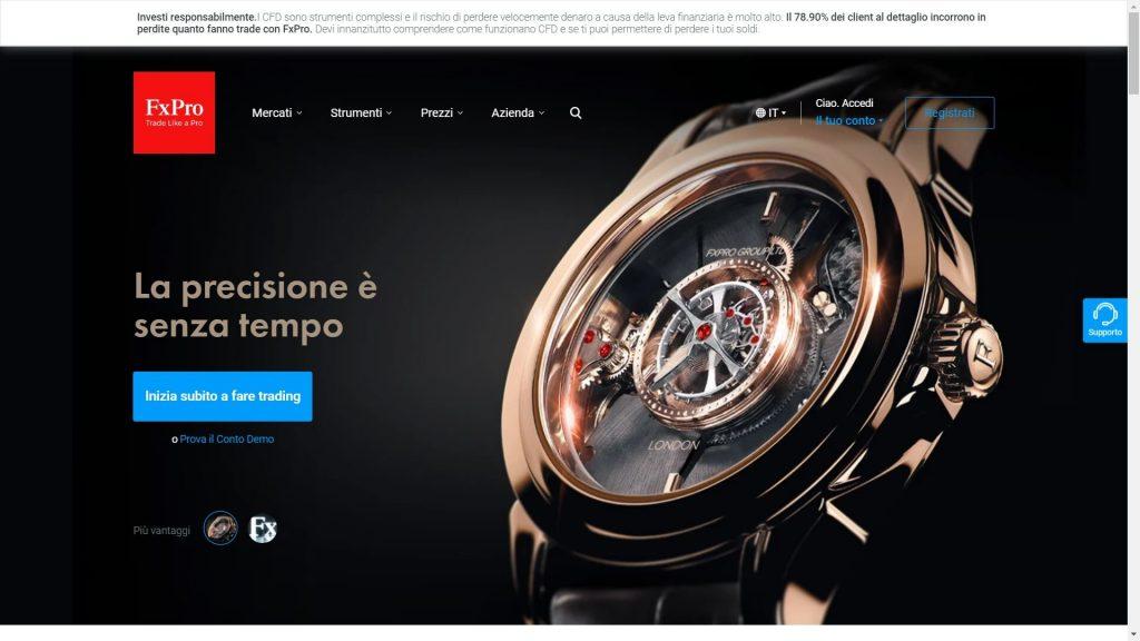 La pagina principale del sito di FxPro