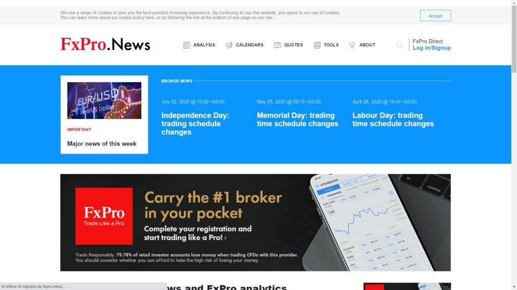 La sezione dedicata alle notizie dei mercati proposta da FxPro