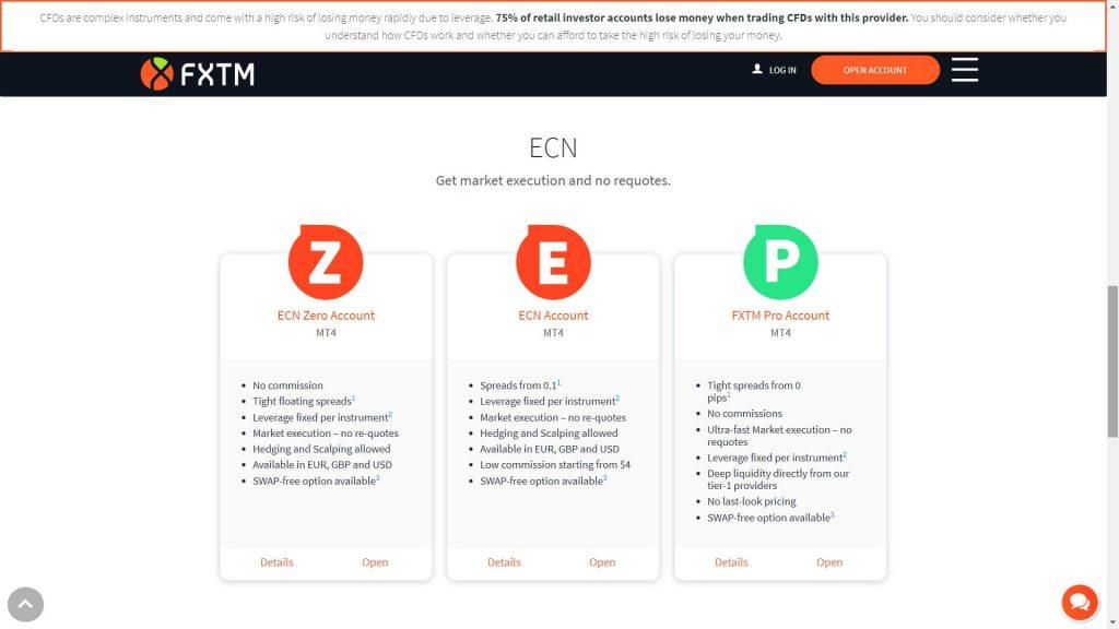 I conti di trading ECN disponibili su FXTM