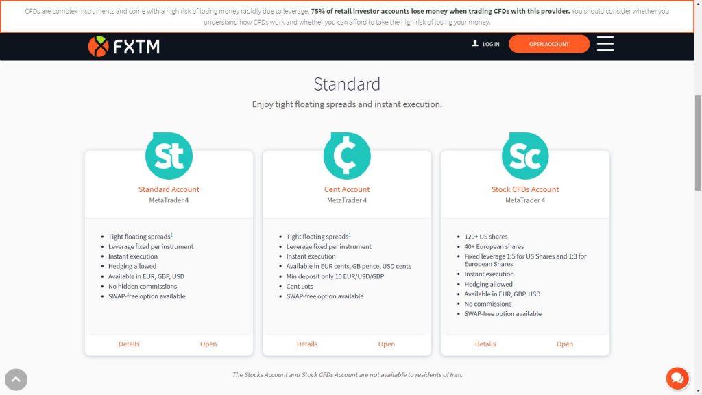 I conti di trading standard disponibili su FXTM