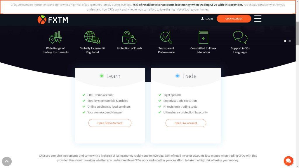 Le caratteristiche di trading con FXTM