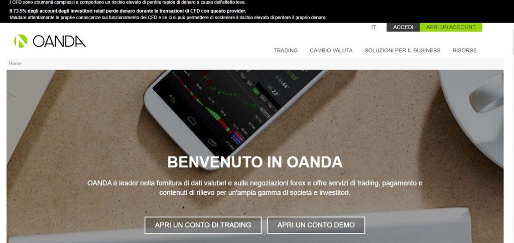 homepage principale di oanda