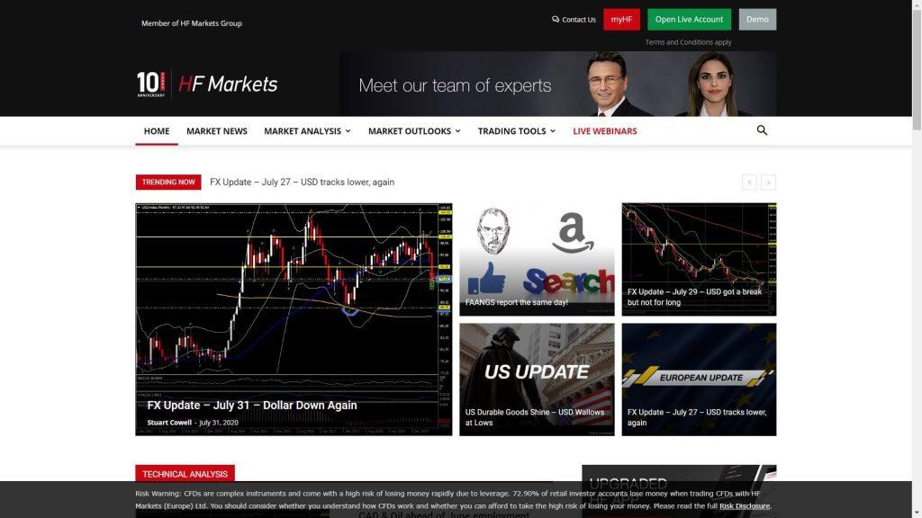 Sezione di HotForex dedicata alle analisi sui mercati