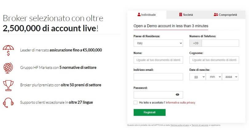 hotforex demo account pagina di registrazione