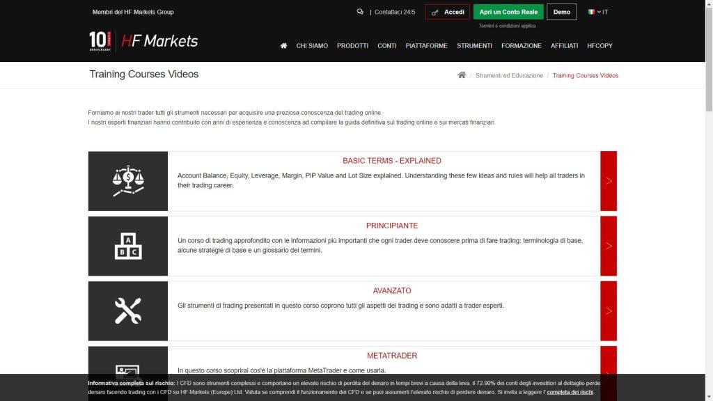 Sezione di HotForex dedicata alla formazione e ai video