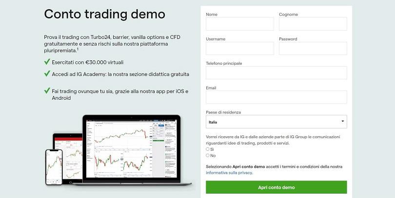 ig markets schermata e caratteristiche conto demo