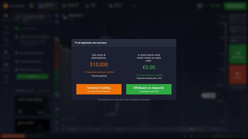 iq option scelta account demo