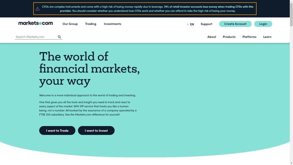 La pagina principale del sito di Markets.com