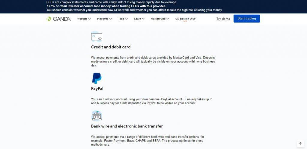 metodi di pagamento offerti da oanda