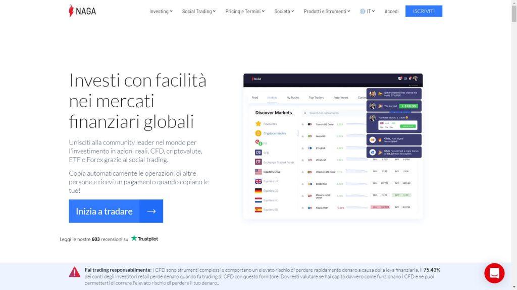 La pagina principale del sito di NAGA Trader