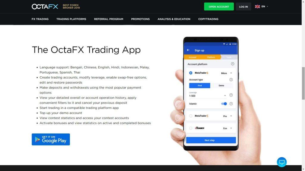 octafx app di trading mobile