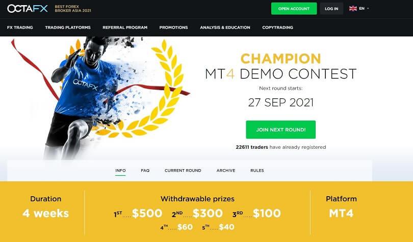 pagina del champion demo contest di octafx