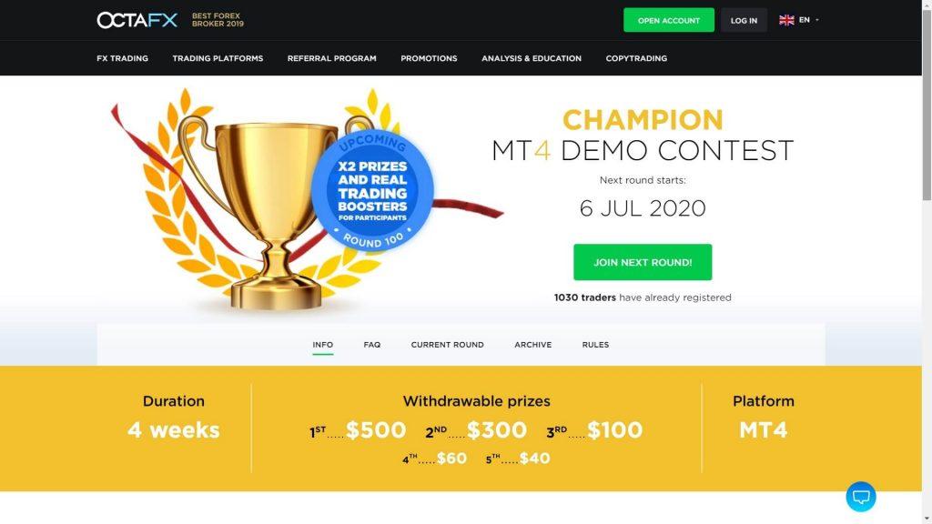 mt4 demo contest di octafx