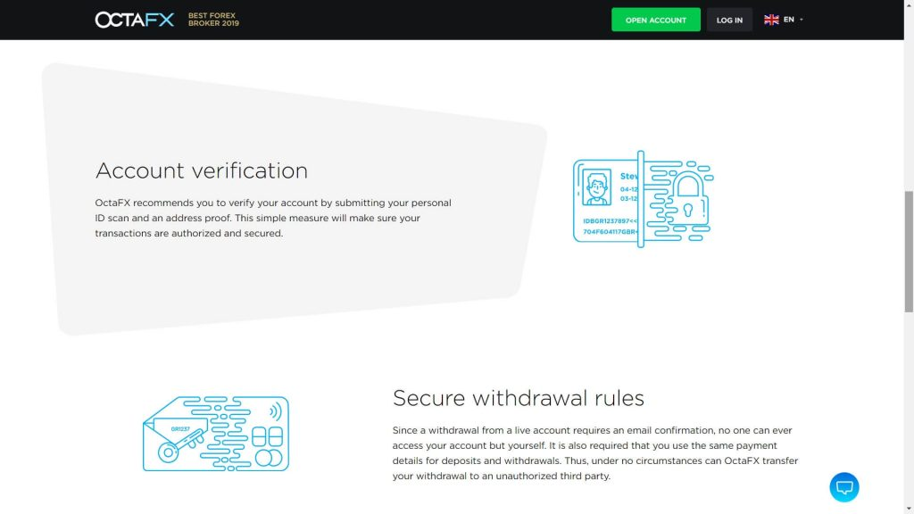 protezione degli account di octafx
