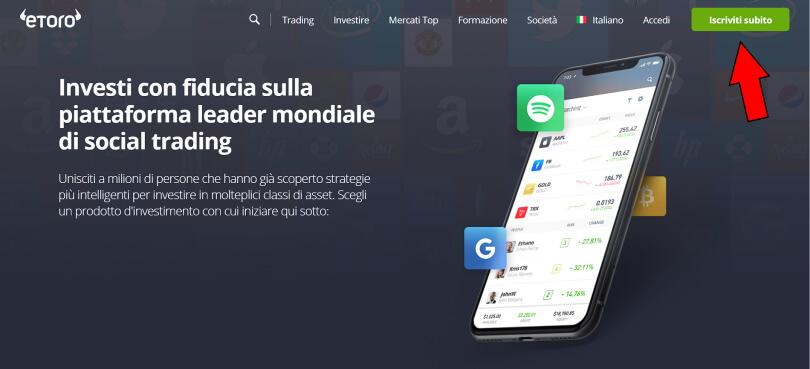 homepage del broker etoro