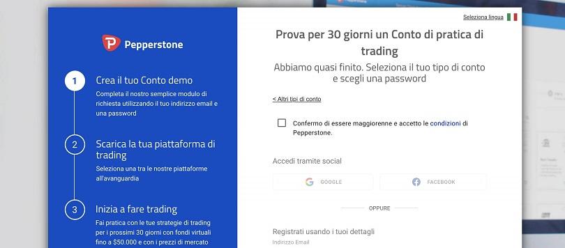 pepperstone schermata demo account