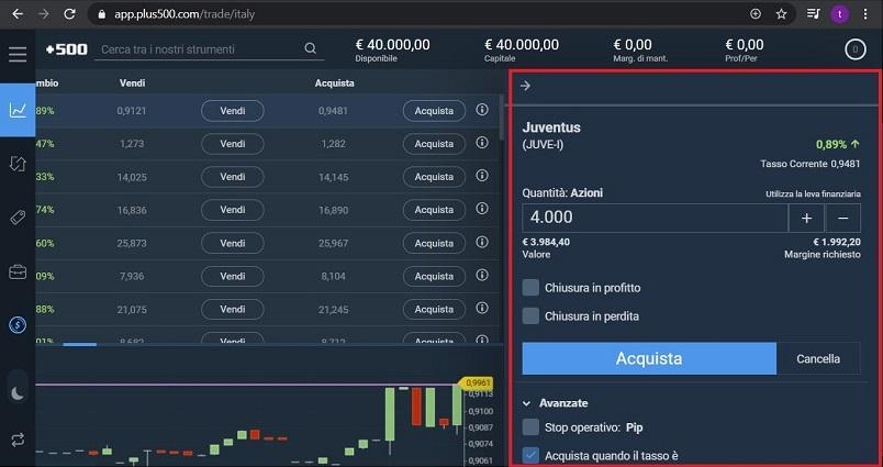 scheda informazioni dell'asset sulla piattaforma plus500