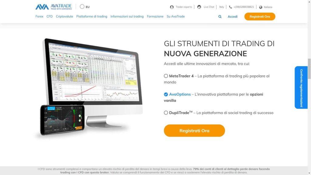 Le piattaforme di trading offerte da AvaTrade