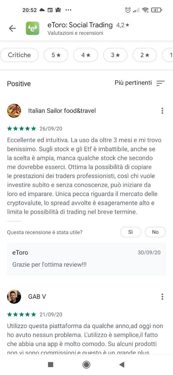 recensioni degli utenti sull'app etoro