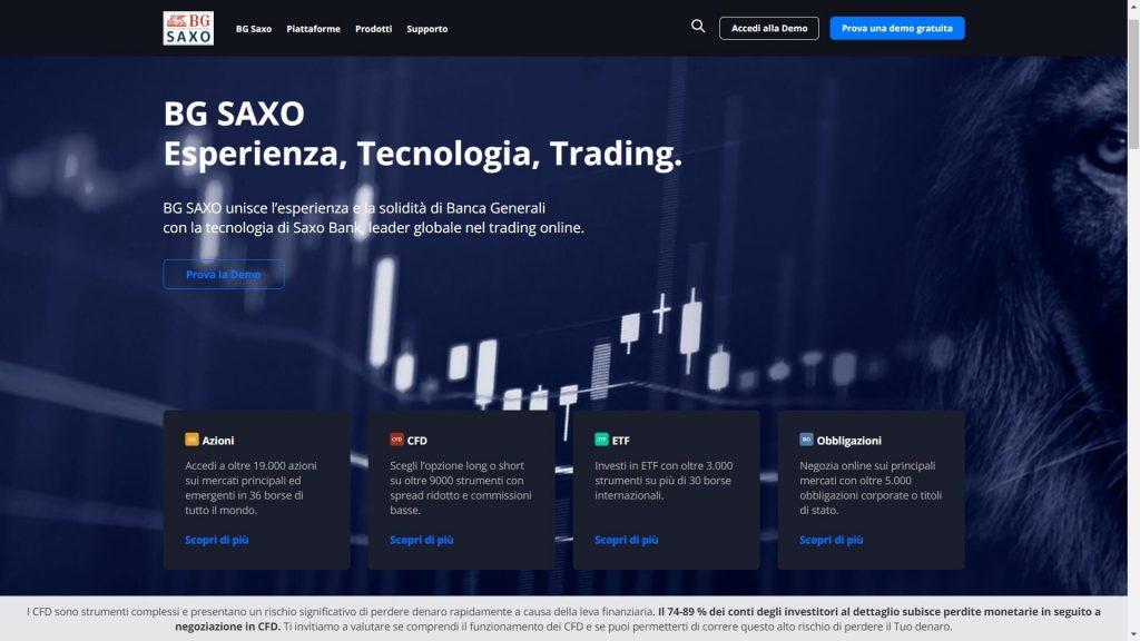 homepage principale di saxo bank