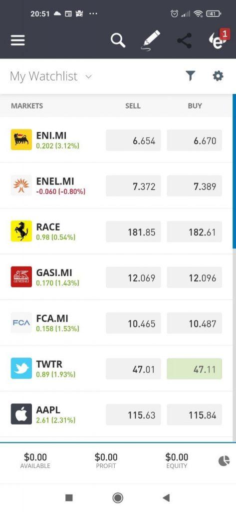 Sezione dedicata al trading di azioni sull'app di eToro per dispositivi mobili