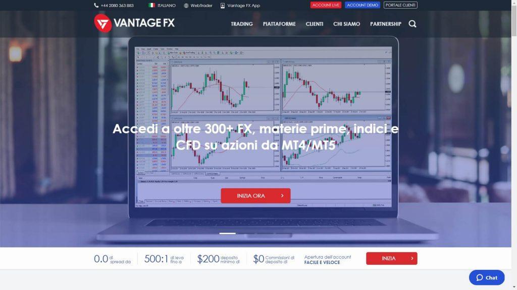homepage principale di vantage fx
