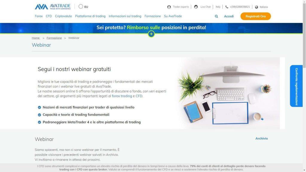Sezione di AvaTrade dedicata ai webinar proposti