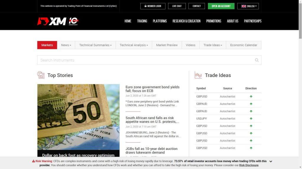 La sezione dedicata alla ricerca delle notizie sui mercati offerta da XM